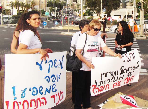הפגנה למען שיקוע הרכבת - יוני 2015 (צילום: ירון כרמי)