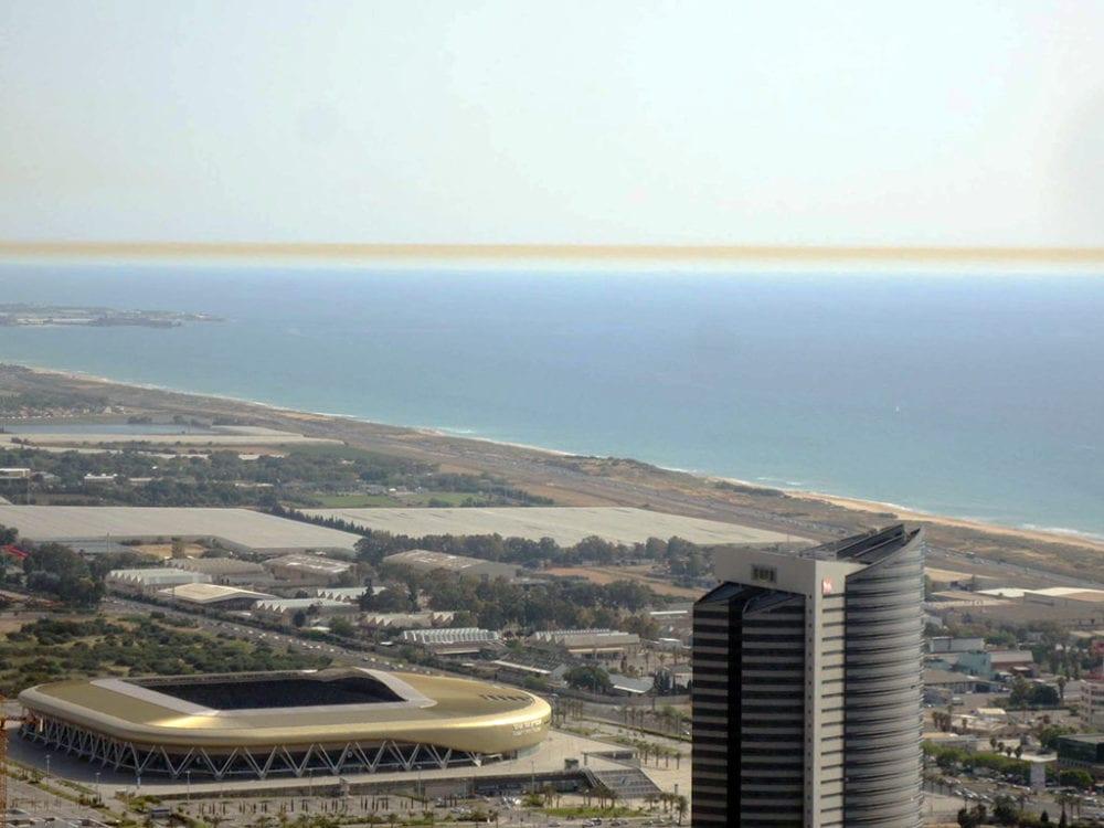 פס זיהום מעל הים התיכון - מבט מחיפה (צילום: ירון כרמי)