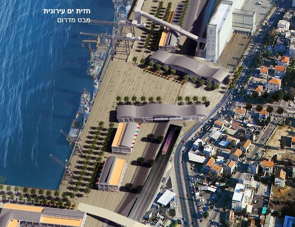 """חזית הים העירונית מול שדרות בן גוריון - הדמיה משנת 2016 - תכנית """"חיפה ברצלונה"""""""