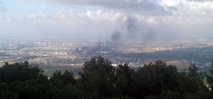 שרפה במפרץ חיפה. צילום – קורא חי פה 2