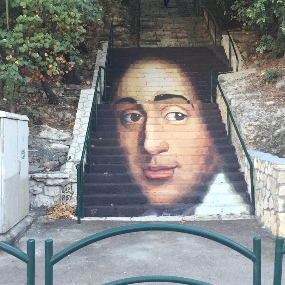 מדרגות שפינוזה בחיפה - ציור דיוקנו של שפינוזה