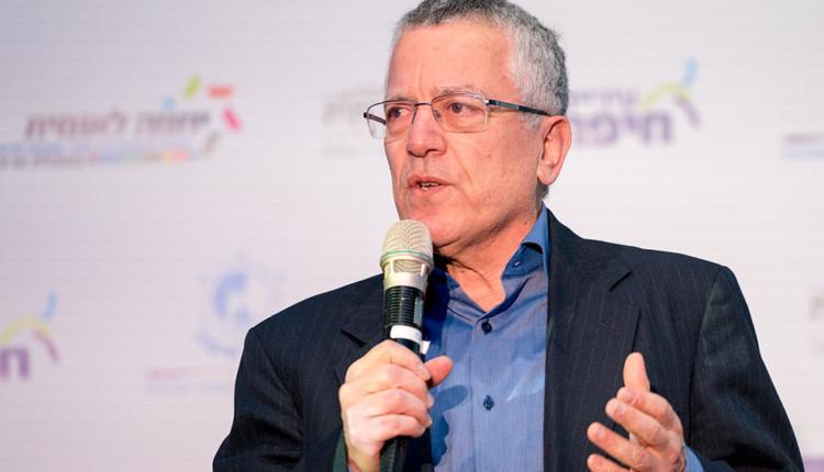 הפרופסור בועז גולני בכנס יוזמה לאומית בחיפה עם אראל מרגלית 15.02.2018 (צילום – ירון כרמי)