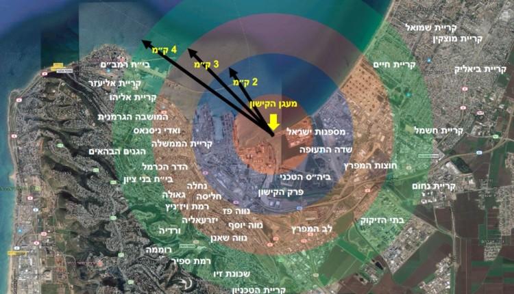 רדיוס פגיעה חזוי בחיפה – ענן האמוניה – לפי קילומטרים (הדמיה – פרופסור אהוד קינן)