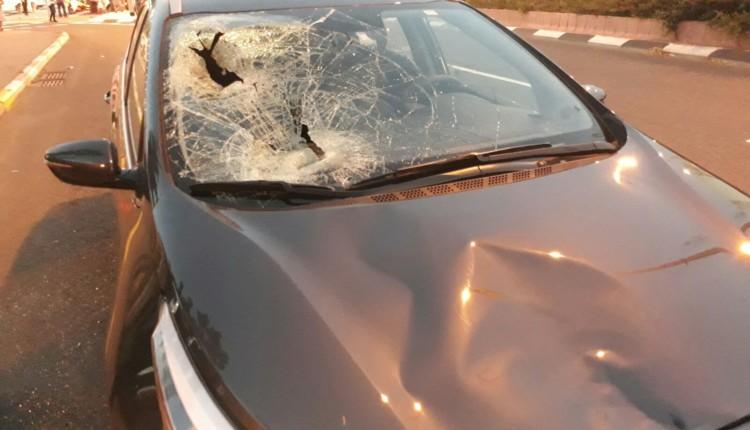 תאונה בצומת הצריף – המכונית שפגעה בהולך הרגל 17/4/2018 (צילום – איחוד הצלה כרמל)
