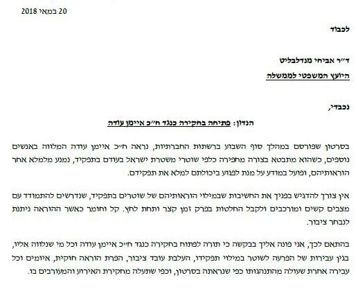השר ארדן בדרישה לפתיחת חקירה נגד איימן עודה – מכתב למנדלבליט