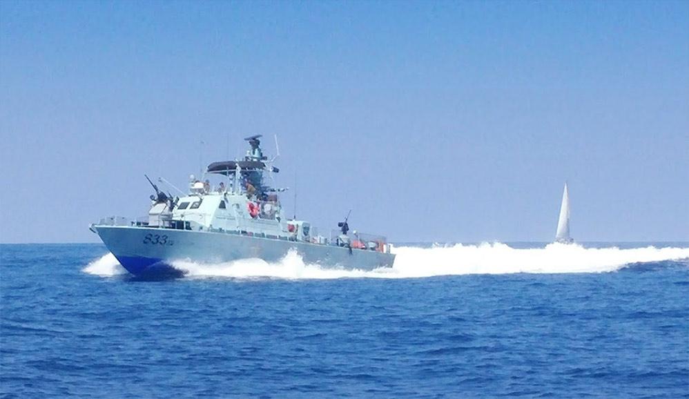 ספינת חיל הים בסיור במהלך שיוט הערים ה-62 (צילום: מנחם שפונד - קהילת שייטי הכרמל)