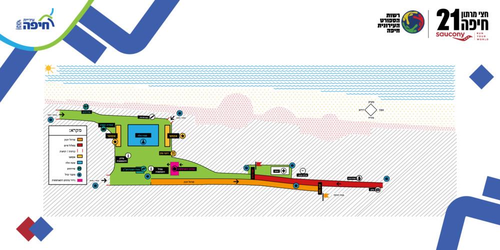 מפה - אזור הזינוק - מרוץ חיפה