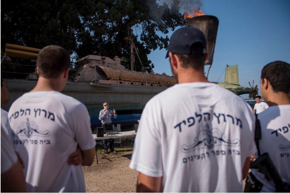 """צוערי קורס החובלים במירוץ הלפיד בחיפה(צילום: דובר צה""""ל)"""