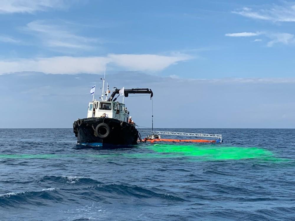 תרגיל היערכות לטיפול בזיהום ים 14/11/2018 (צילום: המשרד להגנת הסביבה)