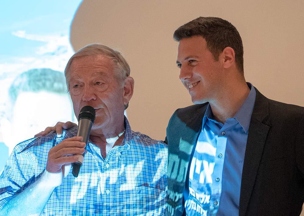 דוד עציוני ואיתמר צ'יזיק בכנס בחירות - מרכז הקונגרסים - 18/3/2018 (צילום: ירון כרמי)