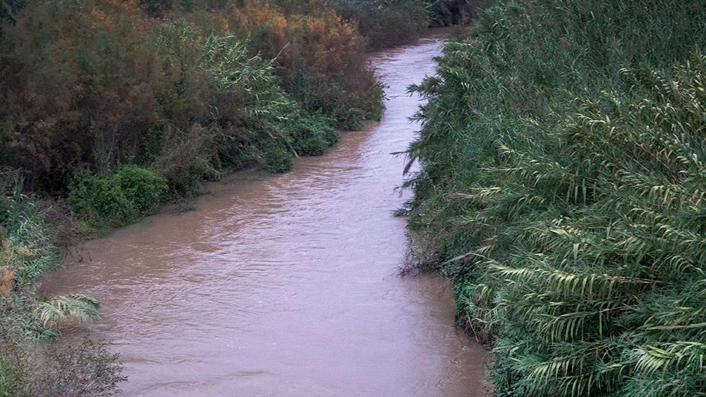 הירדן בזרימה מעט מוגברת - מבט מגשר אריק - 29/12/2018 (צילום: ירון כרמי)