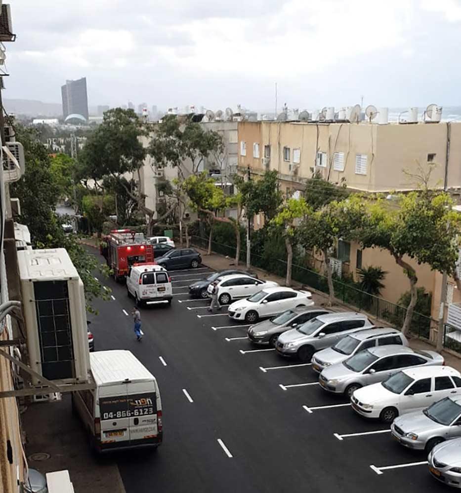 דיווח על דליפת גז ברחוב אסתר המלכה - נווה דוד - חיפה (צילום: תום קופר)