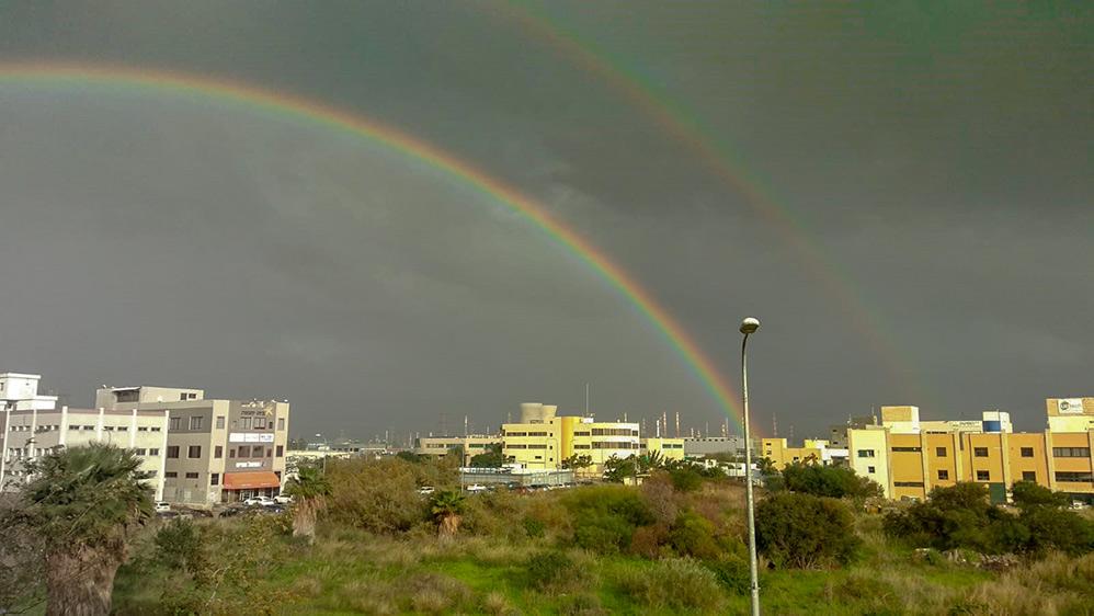 """קשת מעל חיפה - מבט מהצ'ק פוסט (צילום: רותם הירשפלד - קבוצת נדל""""ן 5)"""