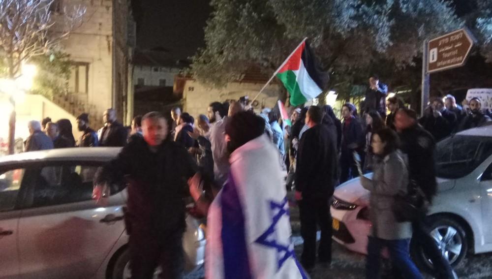 הפגנת הזדהות עם האסירים הפלסטיניים ועם תושבי עזה (צילום: חגית אברהם)