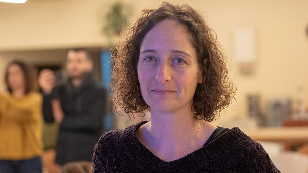 רויטל גולדשמיד במסיבת העיתונאים של צוות מחקר סביבתי (צילום: חי פה)