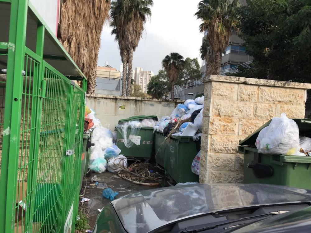 הזבל נערם במרכז הרפואי לין בחיפה - השביתה בחיפה (צילום: נגה כרמי)