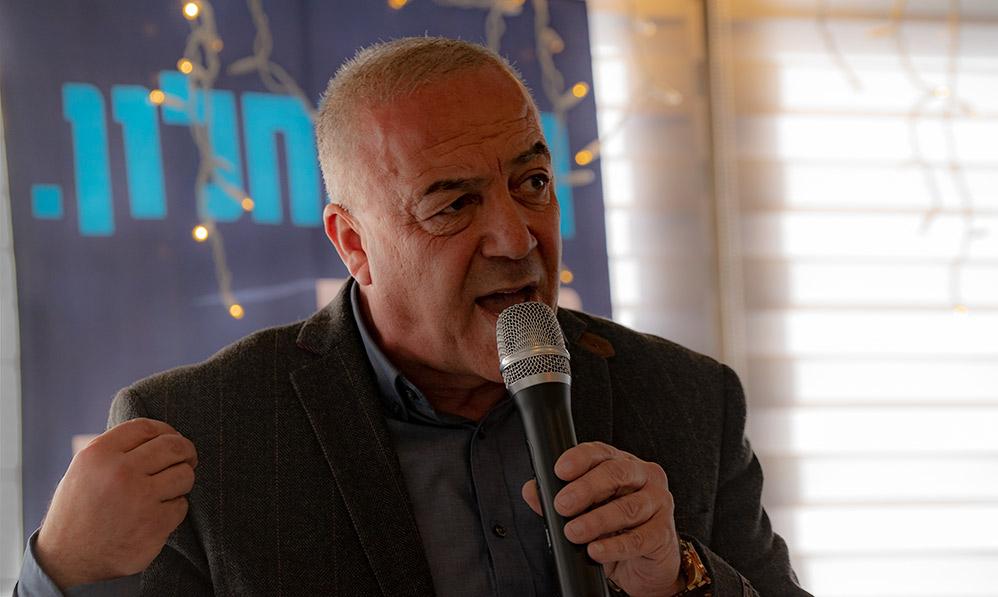 """ח""""כ ד""""ר אכרם חסון בכנס פתיחת הקמפיין של מפלגת כולנו (צילום: ירון כרמי)"""
