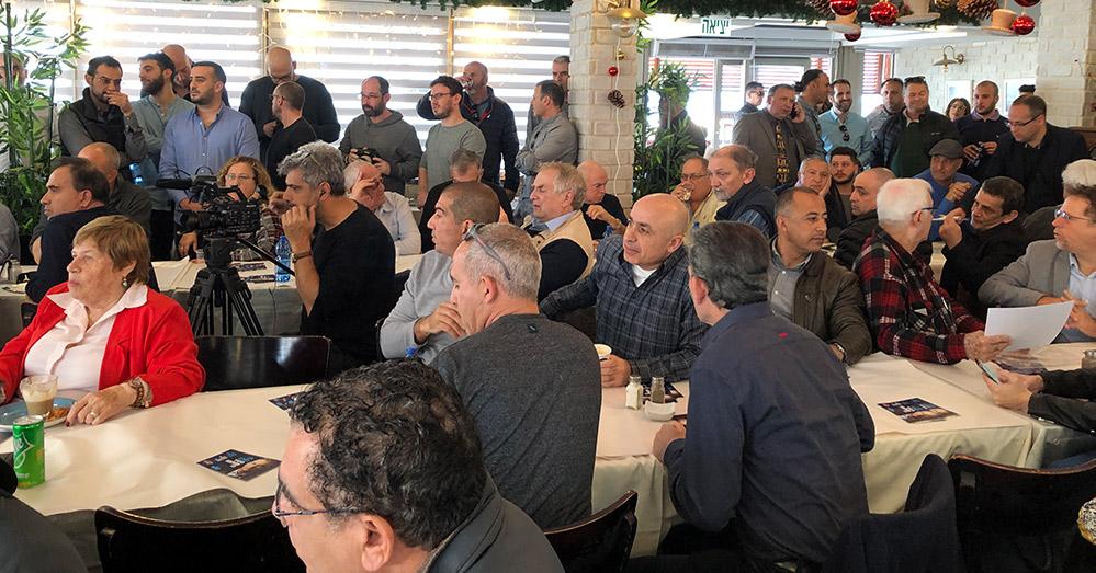 """משתתפים בכנס השקת הקמפיין של מפלגת """"כולנו"""" בחיפה - 01/02/2019 (צילום: ירון כרמי)"""