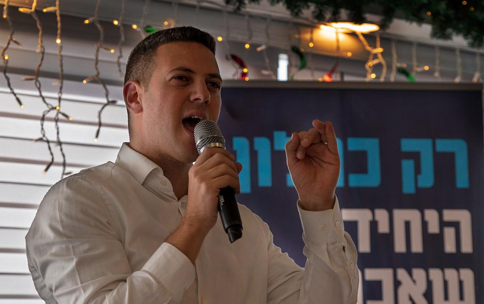 דוד עציוני בכנס פתיחת הקמפיין של מפלגת כולנו 1.2.2019 (צילום: ירון כרמי)