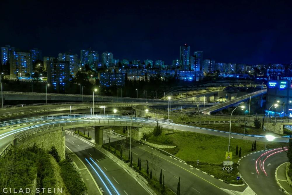 מחלף נחל הגיבורים - גרנד קניון - צילום לילה (צילום: גלעד שטיין)