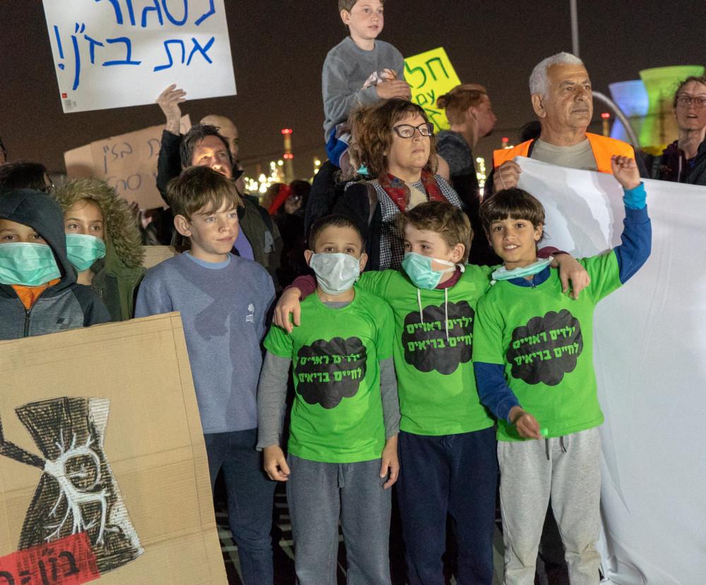 ילדים רוצים לנשום אוויר נקי ההפגנה - תושבי חיפה סוגרים את התעשייה הפטרוכימית 4/2/2019