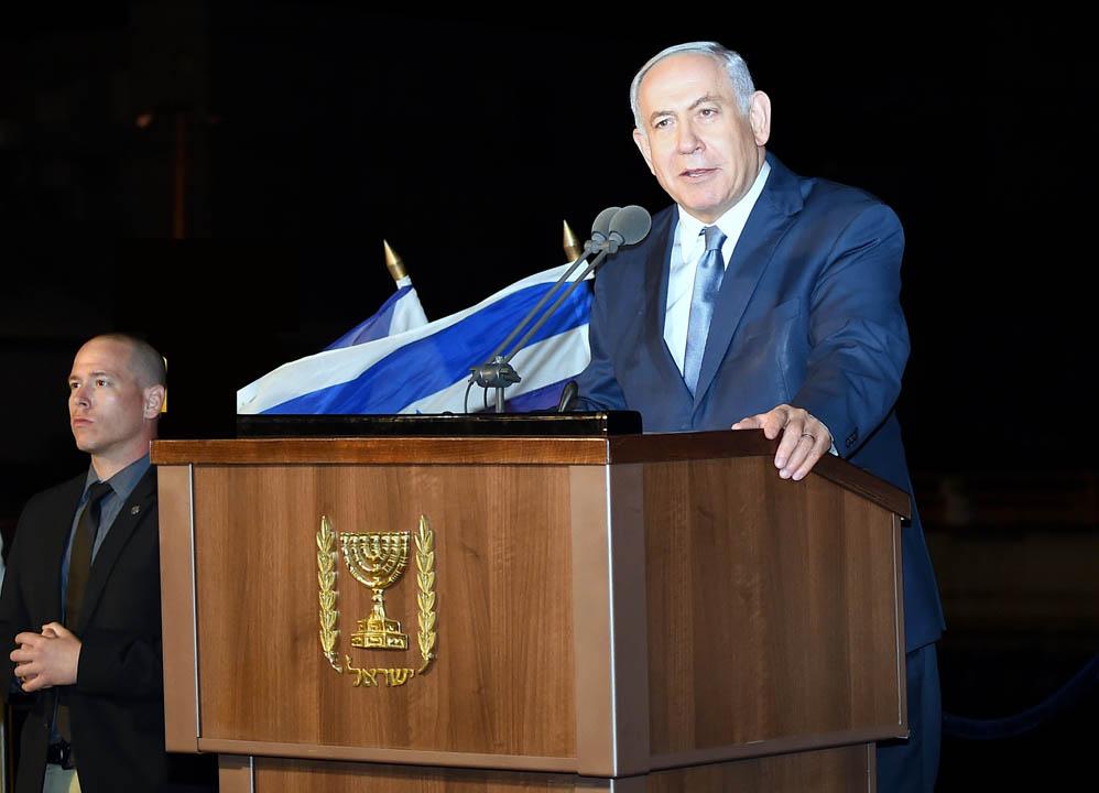 בנימין נתניהו בטקס סיום קורס חובלים בחיפה (צילום: ג'ו לוציאנו)