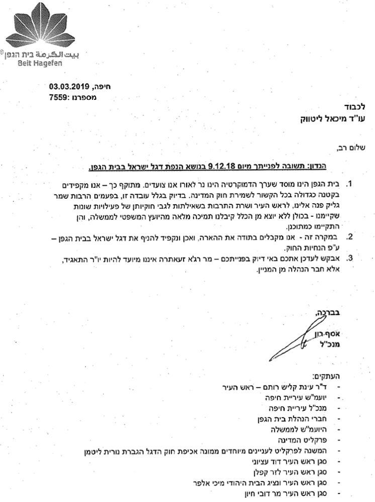 """תשובתו של אסף רון, מנכ""""ל בית הגפן, לעניין הנפת דגל ישראל"""