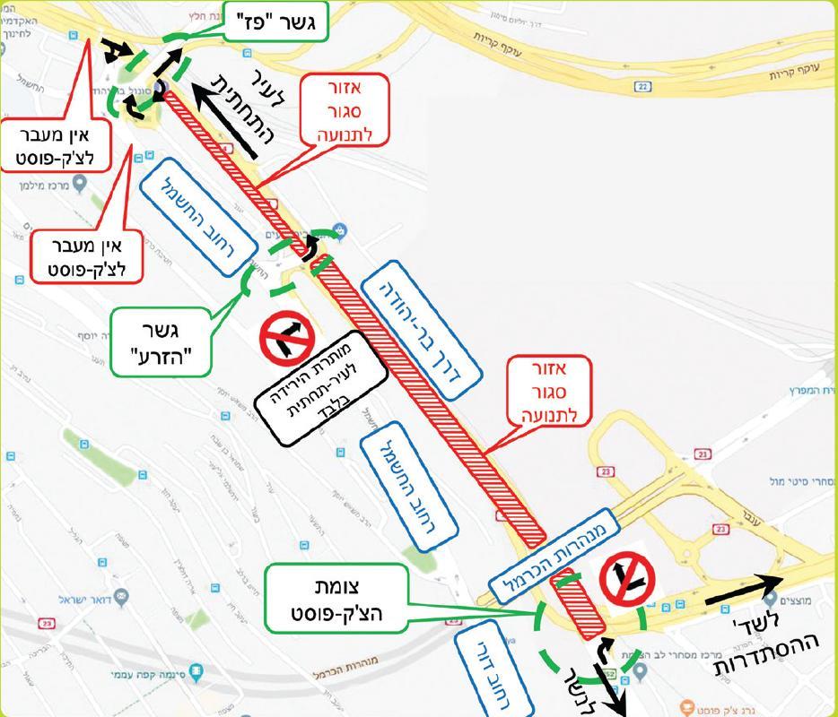 סגירת כביש בחיפה