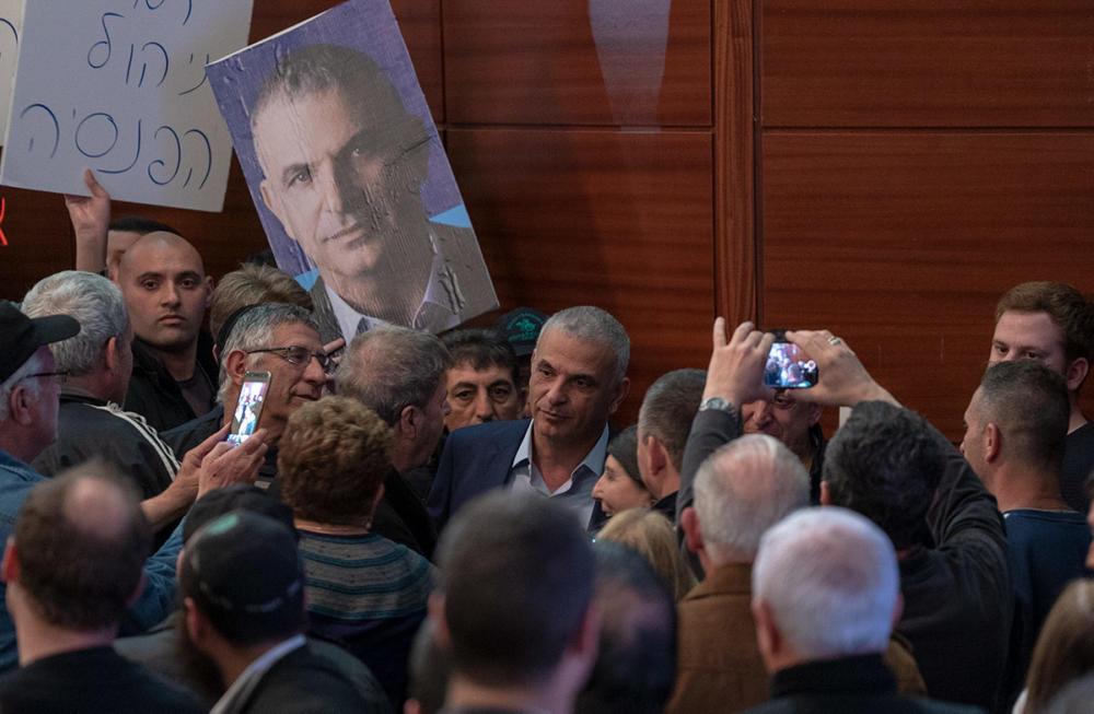 """משה כחלון ותומכי מפלגת """"כולנו"""" בכנס בחיפה (צילום: ירון כרמי)"""