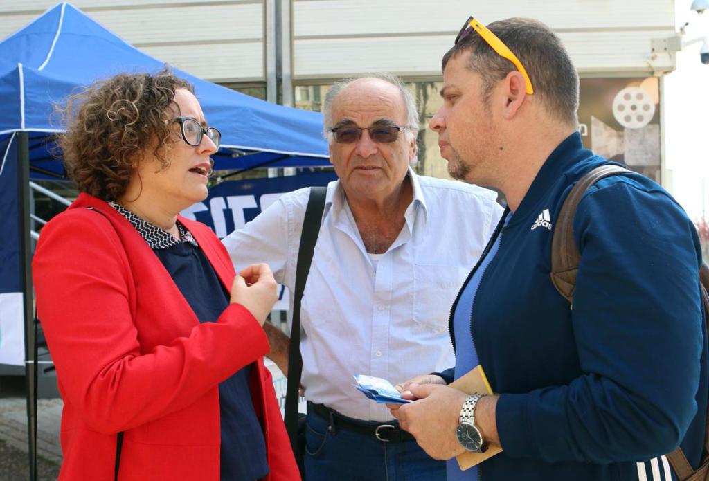 חברת הכנסת יעל פארן ביום הבחירות לכנסת בחיפה (צילום: העבודה)