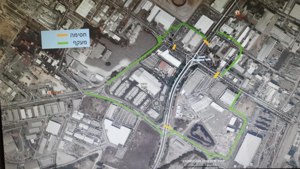 מפה - צירים חלופיים - אירוע דליפת הגז - חסימת צירים במפרץ חיפה  (מאת משטרת ישראל)