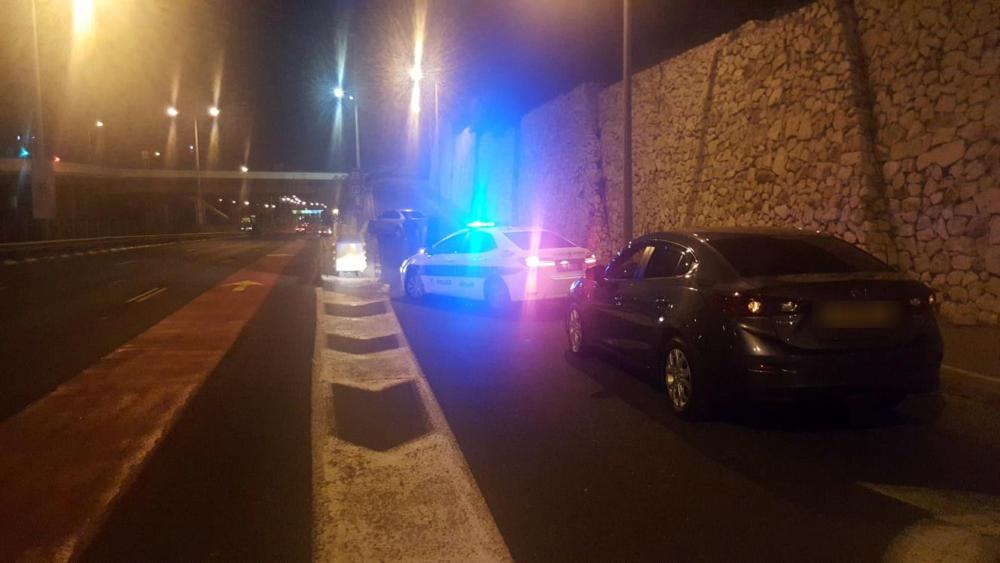 תאונה ביציאה משדרות ההגנה לכיוון מחלף אלנבי בחיפה (צילום: מנשה שמש)