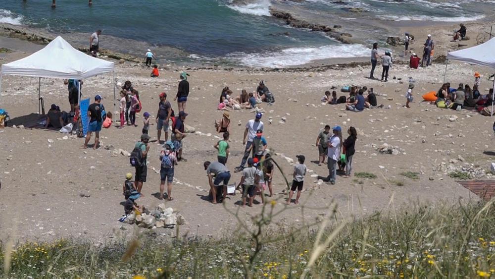 הפנינג בסימן שמורות ימיות בחוף שקמונה (צילום: ירון כמרי)