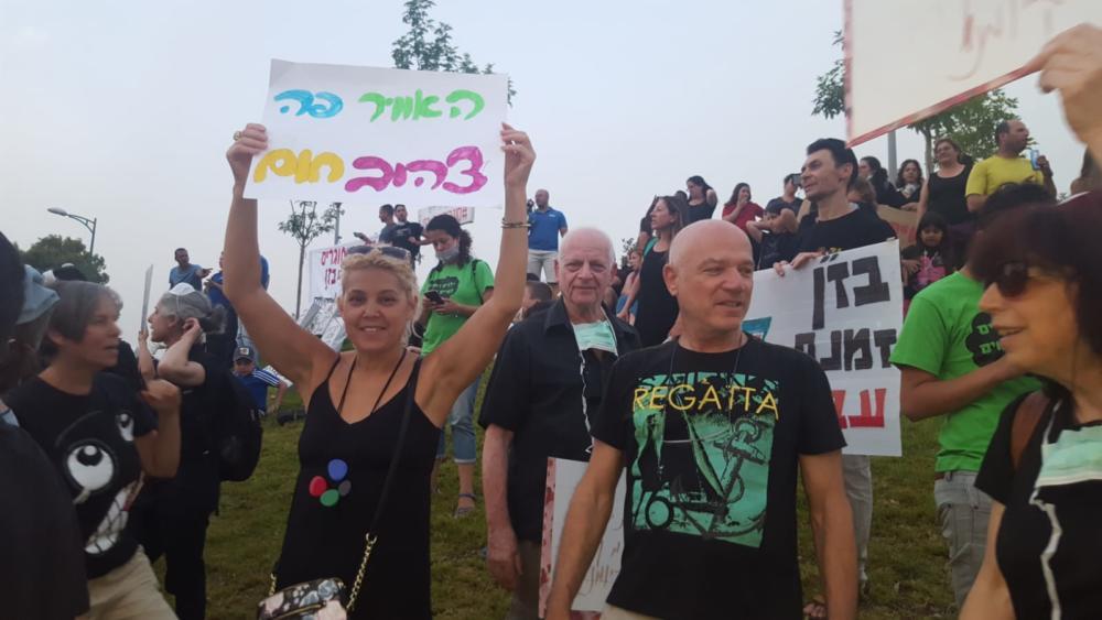 ההפגנה נגד הזיהום – כיכר דגניה, קריית חיים, חיפה (צילום: מנשה שמש)
