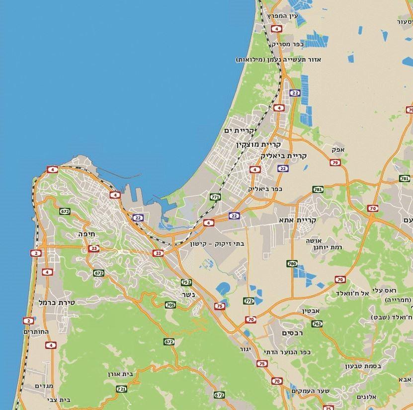 מפת אזור מפרץ חיפה. המקור: אתר המפות הממשלתי