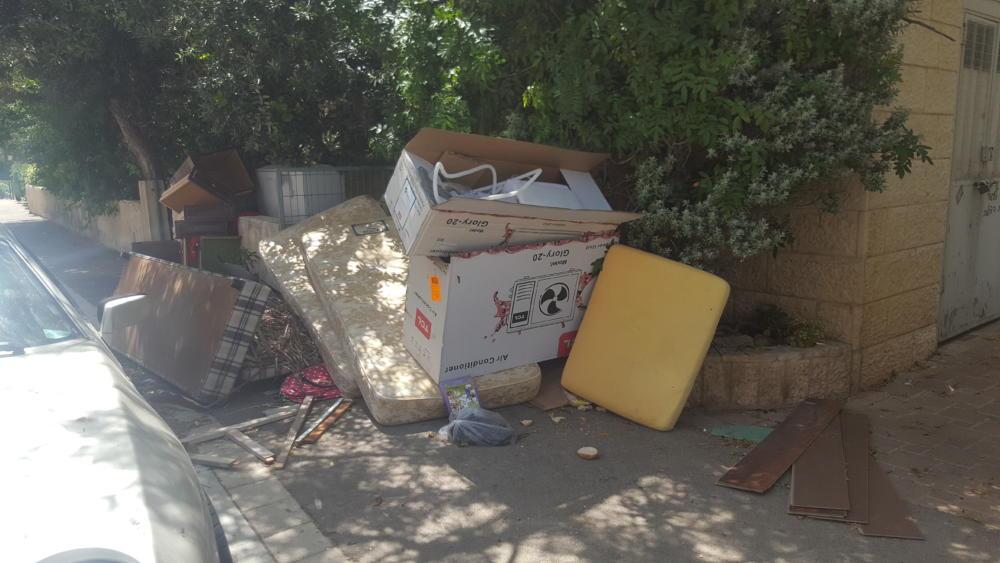 אשפה חוסמת מדרכה ברח' השרון 44, בת גלים חיפה (צילום: מנשה שמש)