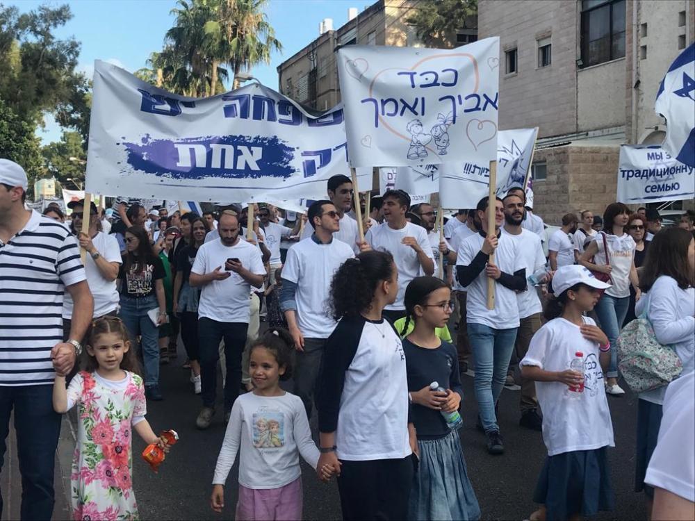 מאות מפגינים בצעדת המשפחה בנווה שאנן בחיפה 27/6/2019 (צילום: מיכל ירון)