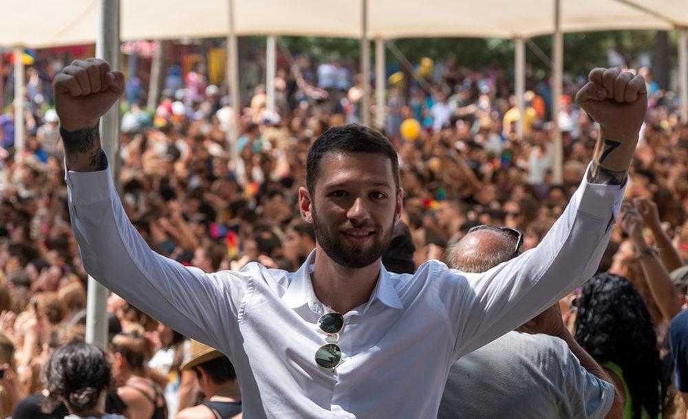 קיריל קרטניק במצעד הגאווה בחיפה (צילום: ירון כרמי)