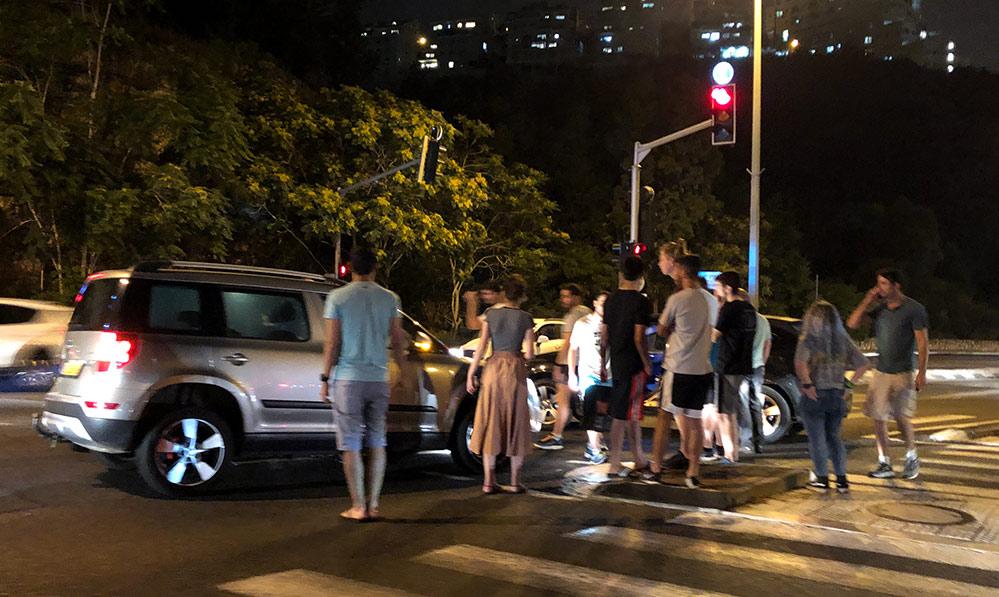תאונה בדרך שמחה גולן בחיפה (צילום: ירון כרמי)