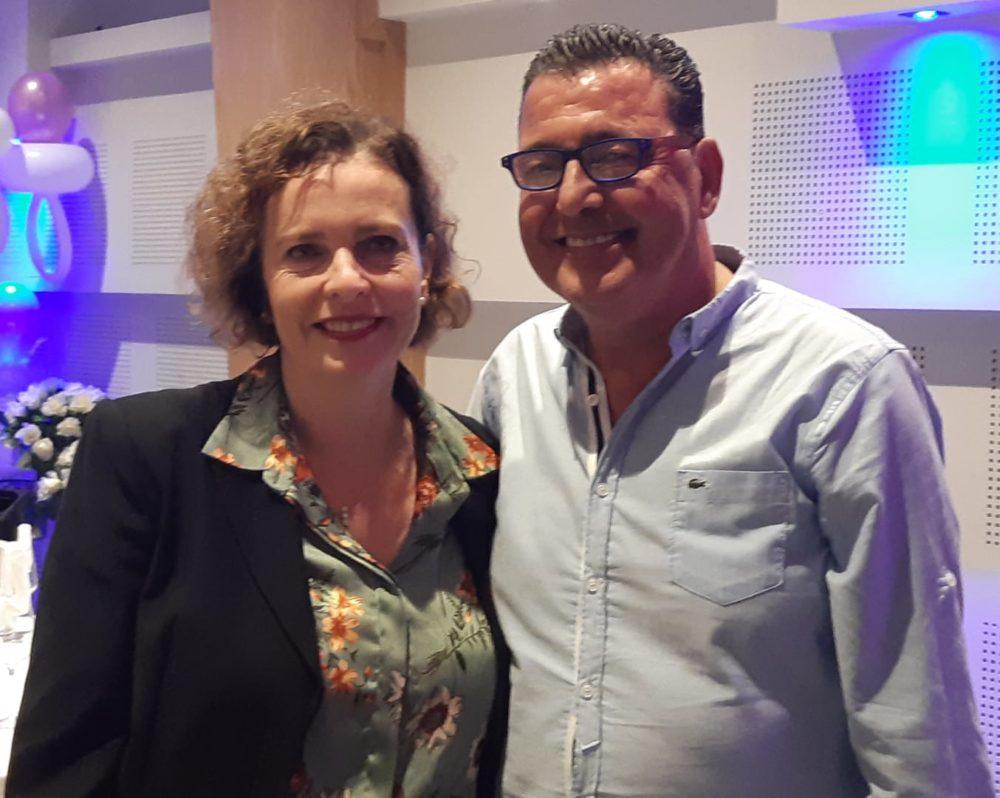 """דוד פסו ז""""ל עם ראש העיר חיפה, עינת קליש."""