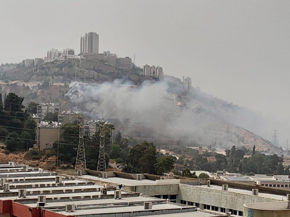 שריפה פרצה בכניסה לחיפה (צילום: לסקר את יעקב)