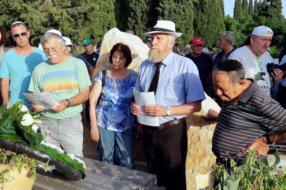רבה של העדה הספרדית בחיפה, כבוד הרב יהודה אלבחר, ניהל את תפילת האזכרה (צילום: אדיר יזירף)