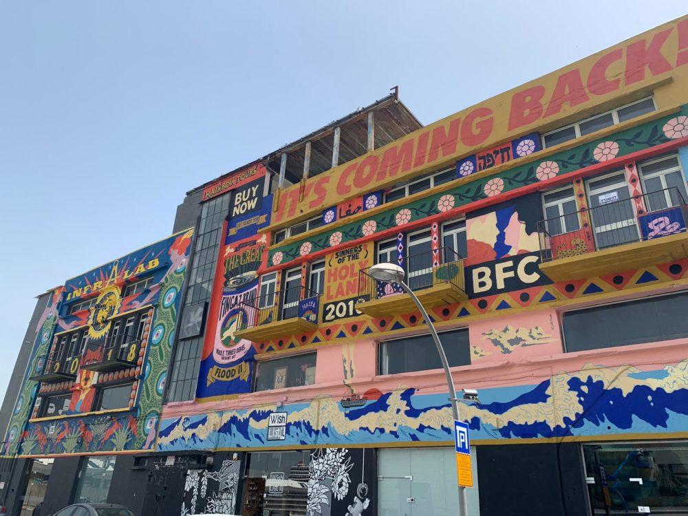 """בניין החורבה בעיר התחתית ועליו ציורי גרפיטי של קבות """"ברוקן פינגז"""" (צילום: גילה זמיר)"""