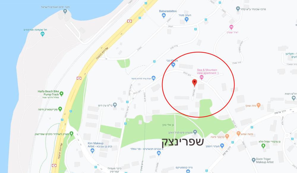 מפה - רחוב סטרומה בחיפה - הכרמל הצרפתי