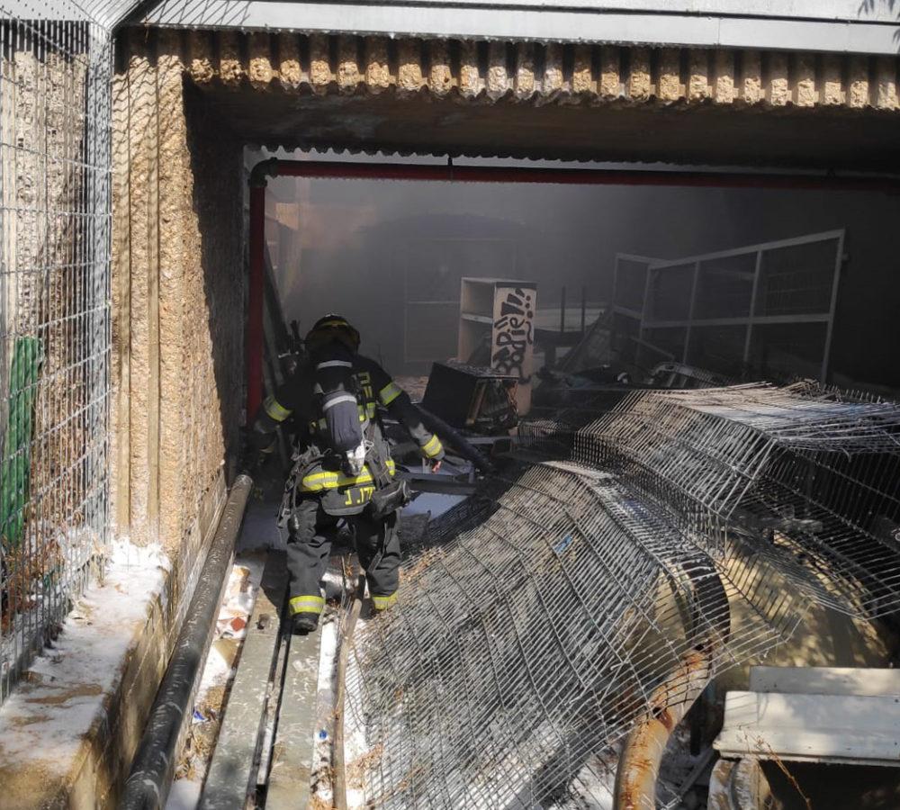 שרפה במדעטק (צילום: לוחמי האש חיפה)