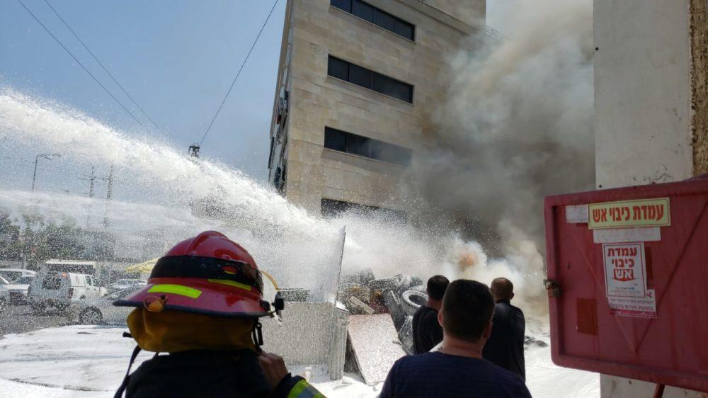 שריפה באזור הציק פוסט (צילום כבאות והצלה