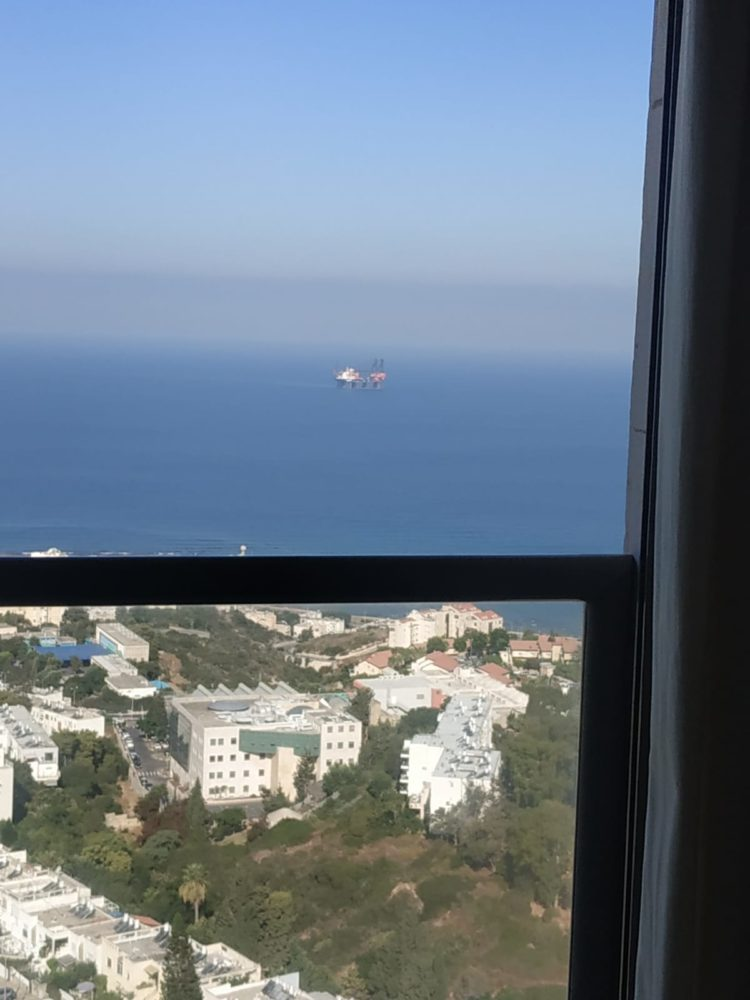 עגורן ימי מול חופי חיפה (צילום אירית בון)