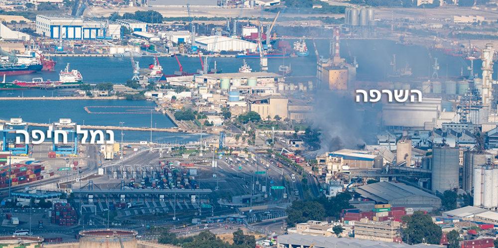 השרפה במפעל שמן - קרבה לנמל חיפה (צילום: ירון כרמי)