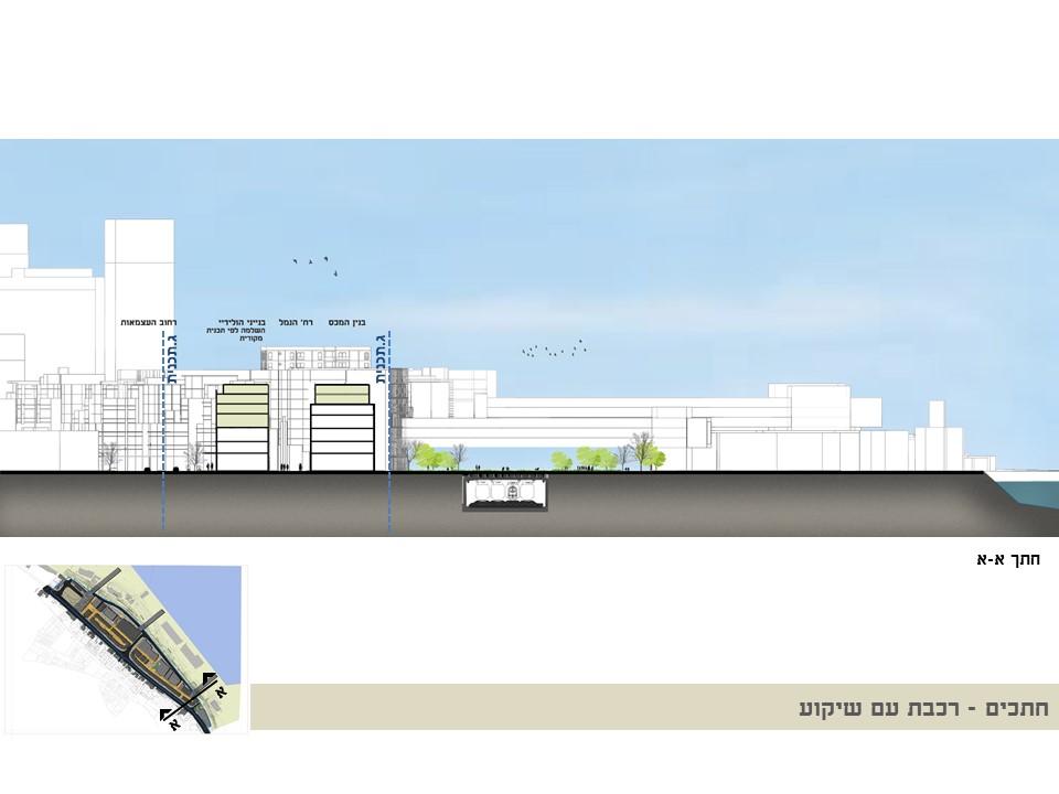 חתך רכבת עם שיקוע - קמפוס הנמל - עיריית חיפה - ספט' 2019 - ב.ברוך אדריכלים