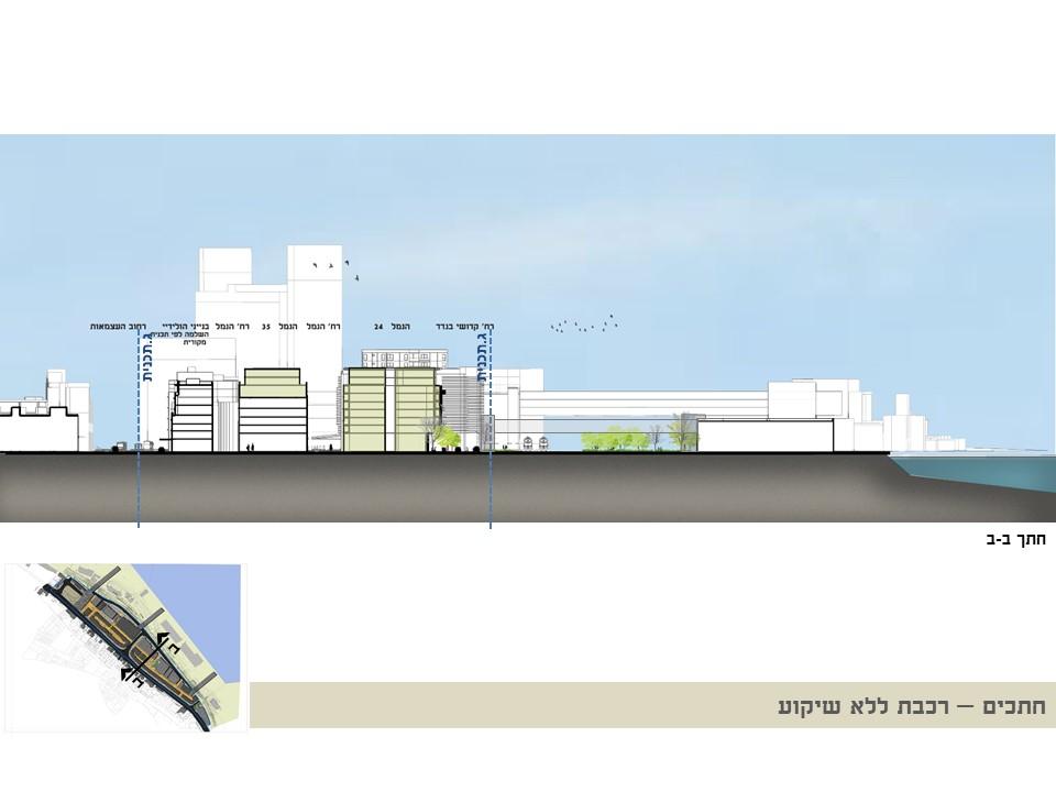חתך הרכבת ללא שיקוע - קמפוס הנמל - עיריית חיפה - ספט' 2019 - ב.ברוך אדריכלים